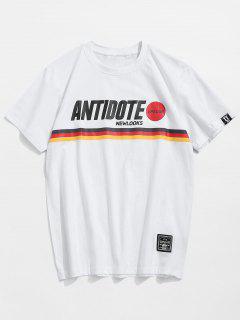 T-shirt Imprimé à Rayures Et Lettres - Blanc M