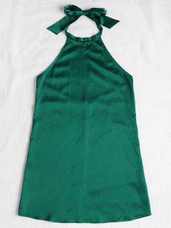 Backless Halter Mini Dress - Green S