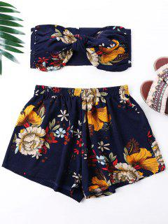 Flower Print Mini Tube Top And Shorts - Navy Blue S