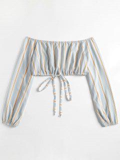 Striped Sleeved Off The Shoulder Crop Top - Jeans Blue S