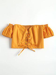 Lace Up Off The Shoulder Crop Top - Bright Yellow L
