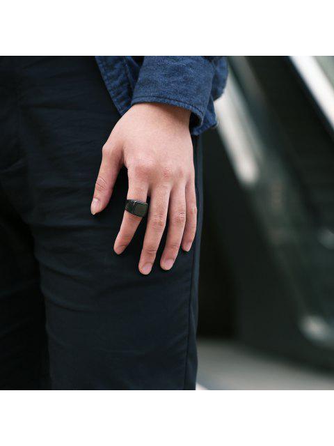 Joyería del anillo de dedo redondo geométrico para el hombre - Negro 7 Mobile