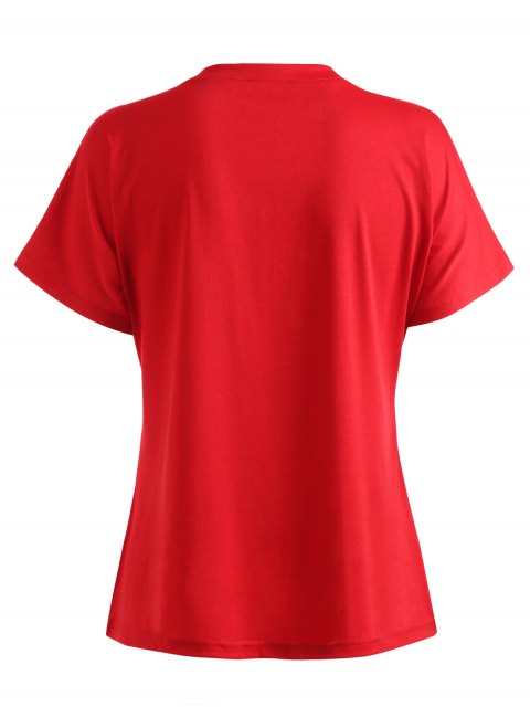 fashion Round Neck Floral Graphic Letter Print Tee - RED S Mobile