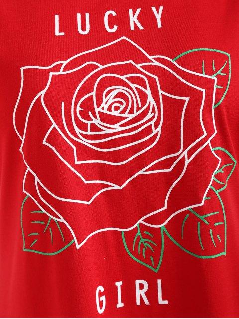 T-shirt à Imprimé Lettre Graphique et Fleur à Col Rond - Rouge L Mobile