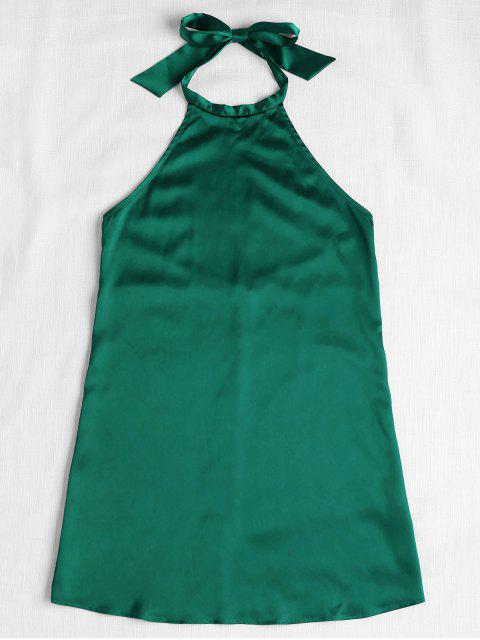 ladies Backless Halter Mini Dress - GREEN M Mobile