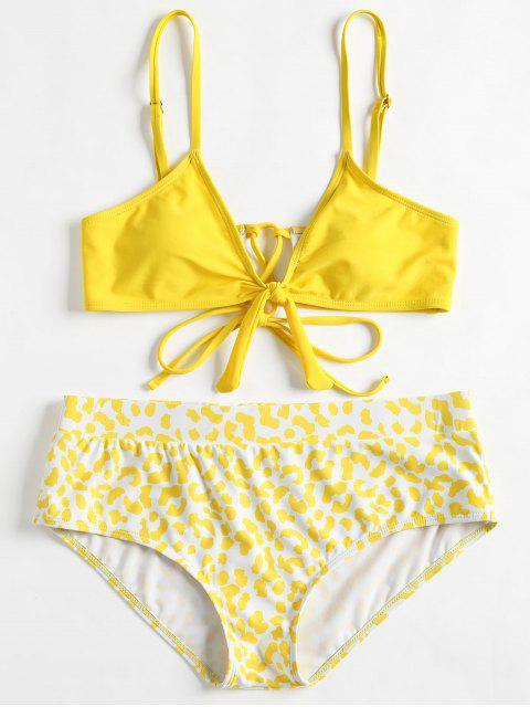 chic Cami Plus Size Printed Bikini - YELLOW 4X Mobile