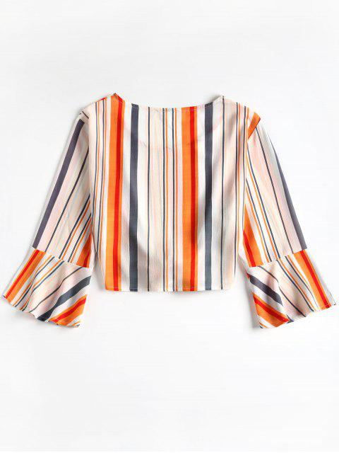 sale Cropped Ties Stripes Top - WHITE XL Mobile