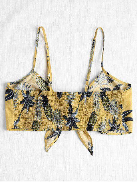 affordable Printed Tied Front Cami Top - YELLOW L Mobile