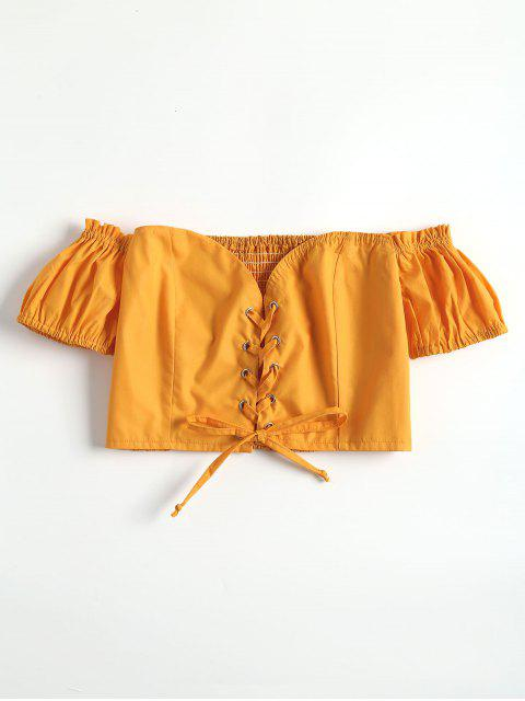shop Lace Up Off The Shoulder Crop Top - BRIGHT YELLOW L Mobile