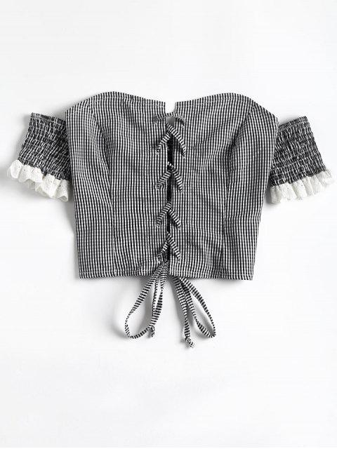 Top corto con hombros descubiertos de guinga con cordones - Negro L Mobile