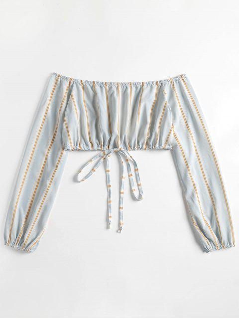 new Striped Sleeved Off The Shoulder Crop Top - JEANS BLUE L Mobile