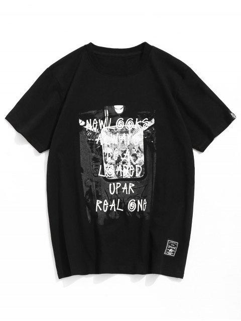 Camiseta casual con estampado de letras en algodón - Negro M Mobile