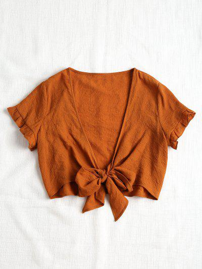 Plunging Neck Crop Tied Hem Blouse - Brown M