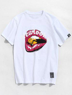 Letter Mouth Pattern Cotton Tee
