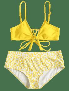 Amarillo Talla Estampado Cami L De Grande Bikini B7pnZ