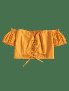 Brillante Cordones M Descubiertos Con De Corto Top Amarillo Hombros A0fOwZqT