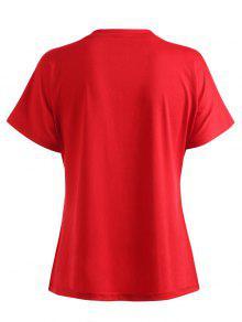 Camiseta Con Rojo Florales Cuello S Letras De Redondo De Estampado rrxSAd