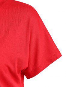 Cuello Rojo Florales Estampado De Con Camiseta S Redondo De Letras 8n1xYR4WF