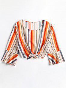 Cropped Ties Stripes Top - Blanco S