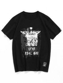 M De 243;n Camiseta Estampado Casual En Con Letras Negro Algod SftqwzRt0A