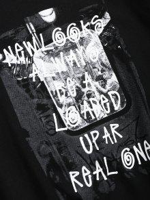 Camiseta En Estampado Letras M 243;n Casual Algod Con Negro De 6r7C6a