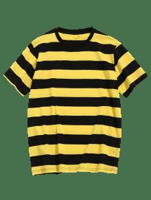 Manga Rayas Amarillo De Corta M Camiseta A UOz7zq