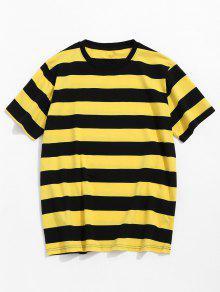 تيشيرت مخطط بأكمام قصيرة - الأصفر M