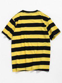 A M Corta De Amarillo Rayas Camiseta Manga tYnwqaz4xF