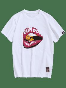 Algod Letra De 243;n De De Boca L Camiseta De Blanco Patr 243;n ZwOxqz5n4g