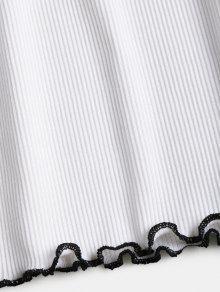 Hombros Camiseta De Sin Con Blanco M Recorte Lechuga ZZ4UrSO