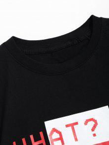 De Manga Letras Camiseta M Corta Estampado De Negro Con XzqaO5