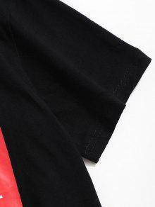 Camiseta Corta Con De Manga De Negro Estampado M Letras rOErw7Aqx