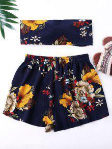 De S Mini Cortos Pantalones Flores Marino Estampado Top Azul Con Y qrYx0rvwtn