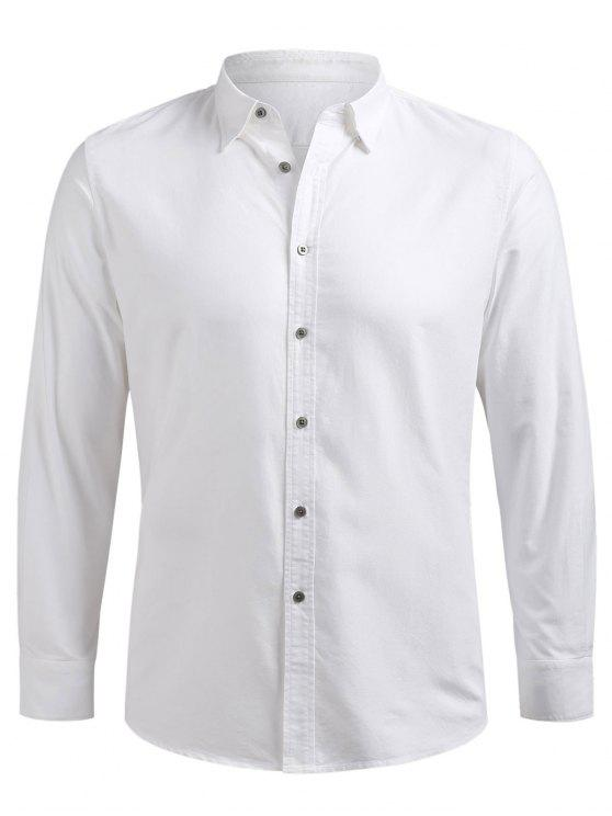 shops Button Up Long Sleeve Shirt - WHITE L