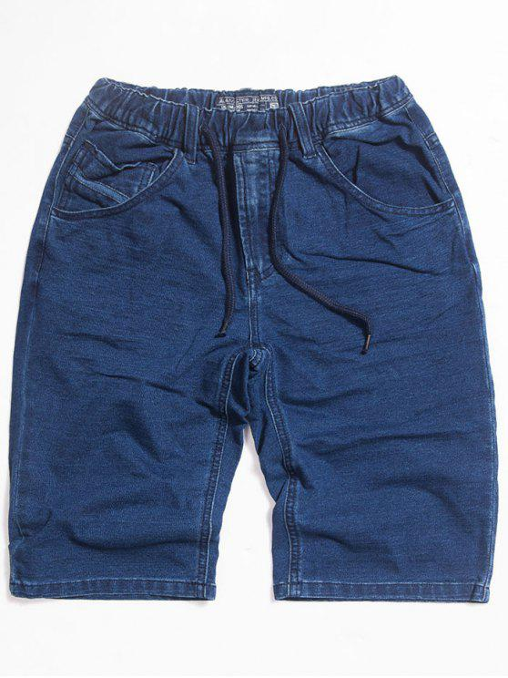 Dunkles Wash Kordelzug Denim Shorts - Blau 2XL
