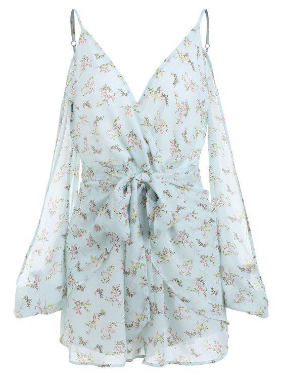 الأزهار شق الأكمام السباغيتي حزام رومبير - اخضر فاتح XL