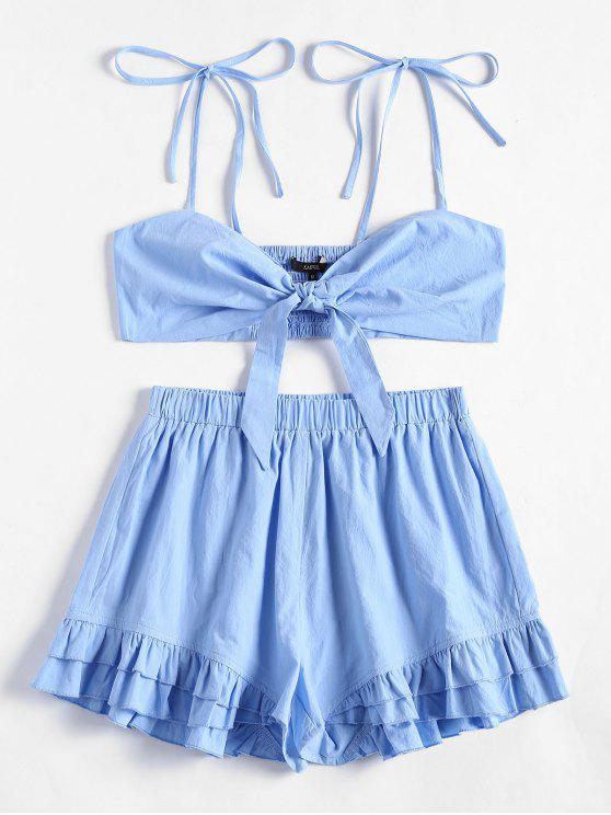 women Smocked Cami Top and Ruffled Shorts Set - LIGHT BLUE M