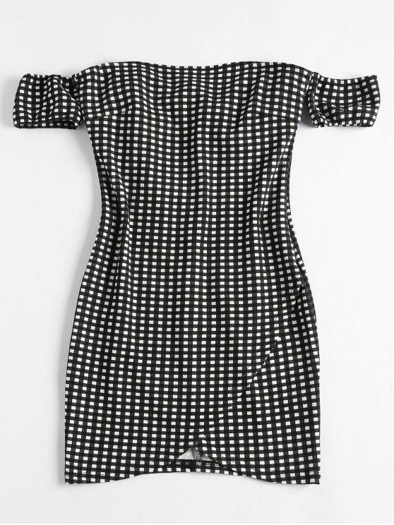 outfit Off Shoulder Mini Plaid Dress - BLACK S