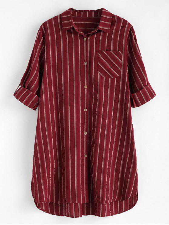 Robe Haute-Bas Rayée à Poches - Rouge Vineux Taille Unique
