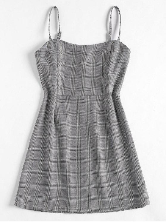 buy High Waist Plaid Cami Dress - BLACK S