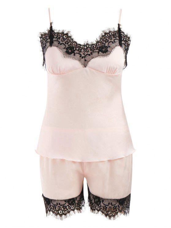 women's Lace Trim Satin Short Pajamas Set - LIGHT PINK M