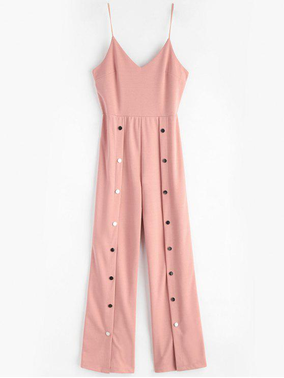 outfits Snap-button Wide Leg Jumpsuit - LIGHT PINK L