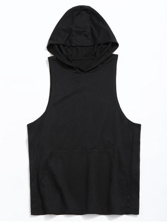 latest Tank Kangaroo Pocket Hoodie - BLACK XL