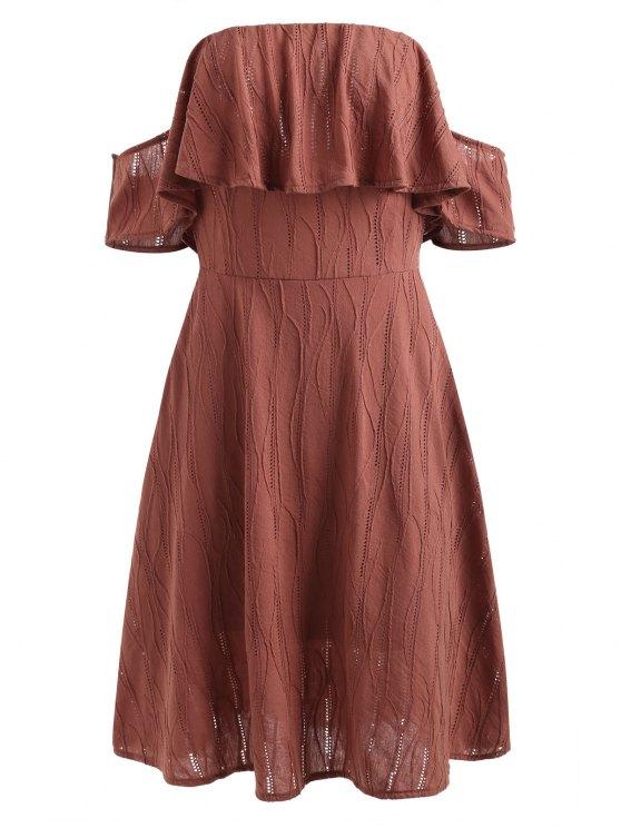 Robe Volantée à épaules Dénudées - Rouge Cerise S