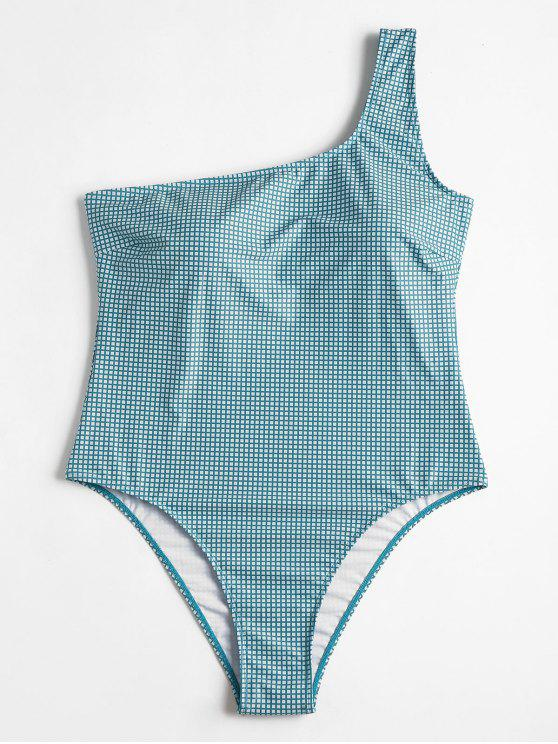 best Plus Size Gingham High Leg Swimsuit - GREEN 1X