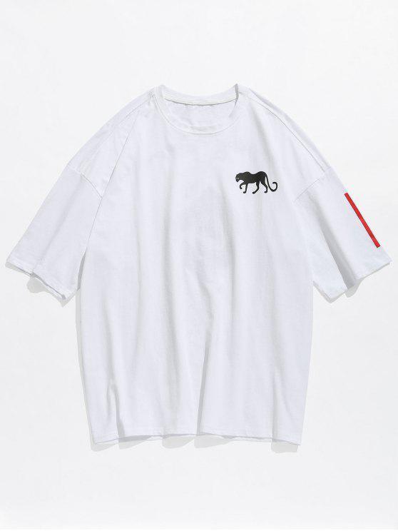 Camiseta estampada con estampado de hombros caídos - Blanco 2XL