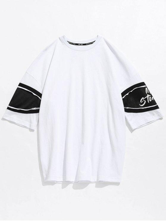 new Casual Drop Shoulder Net Insert Tee - WHITE M