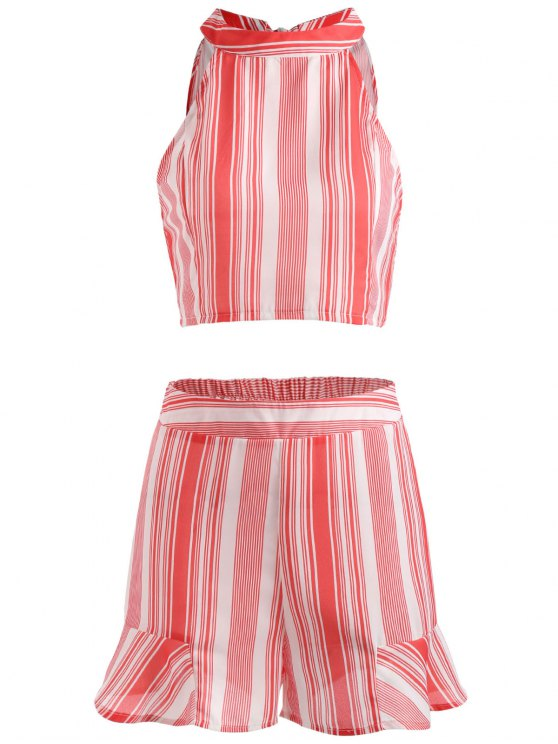 womens Striped Crop Top and Ruffled Shorts Set - BEAN RED L