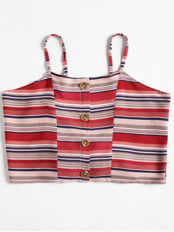 best Knotted Striped Cami Tank Top - CHERRY RED M