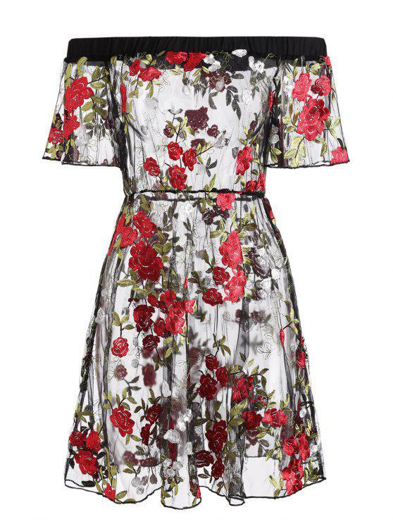花卉刺繡網眼肩連衣裙 - 黑色 S